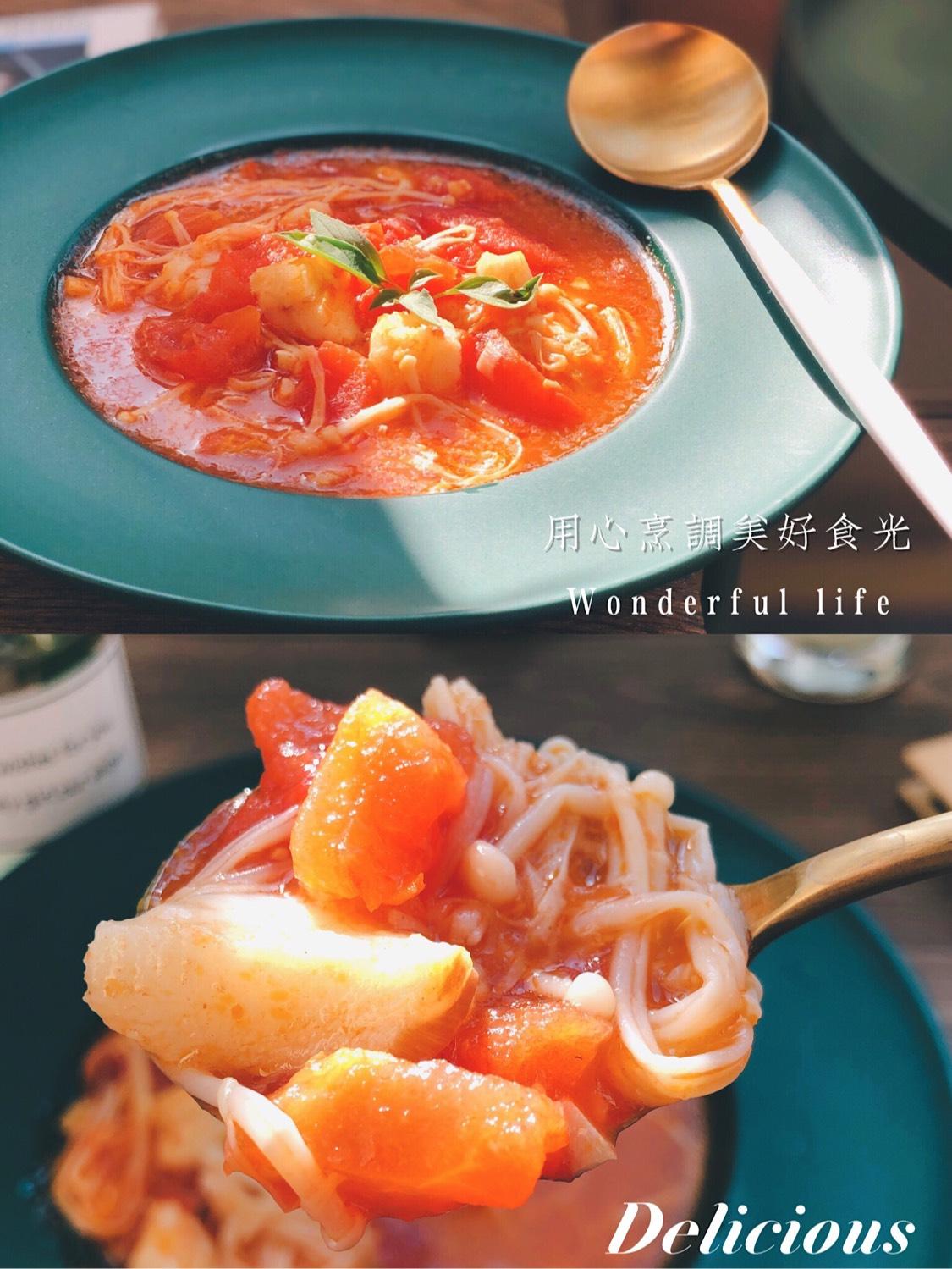 【番茄金针菇龙利鱼浓汤】 秋日的餐桌