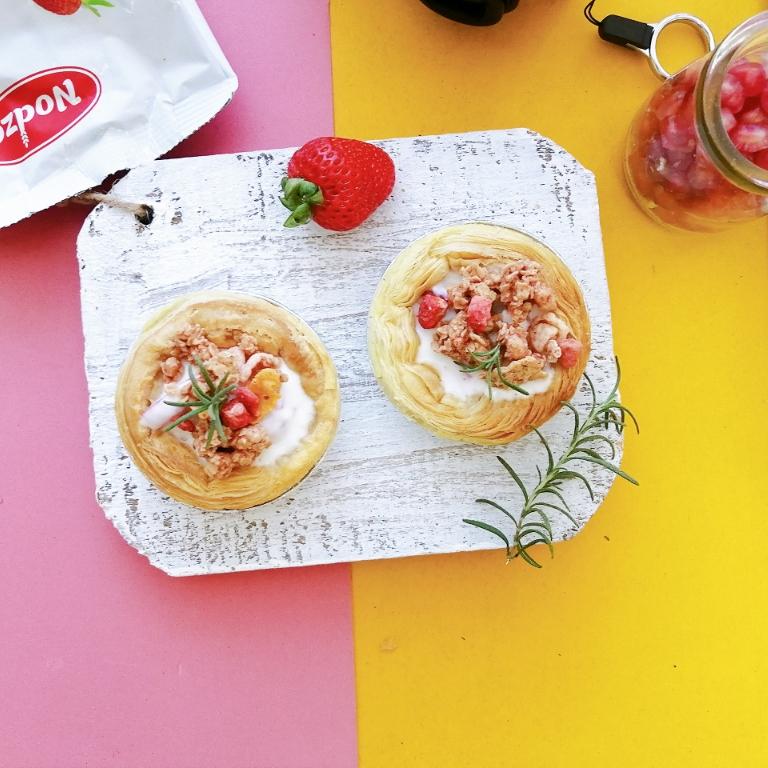 🔥蛋挞皮的新吃法‼️草莓谷物