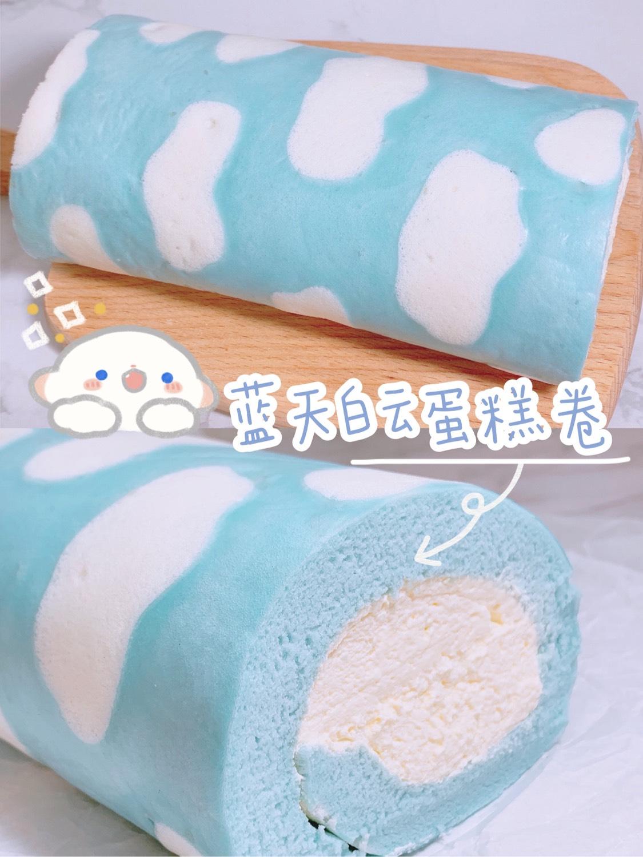 🌈超可爱‼️松软好吃🌟蓝天白云蛋糕卷