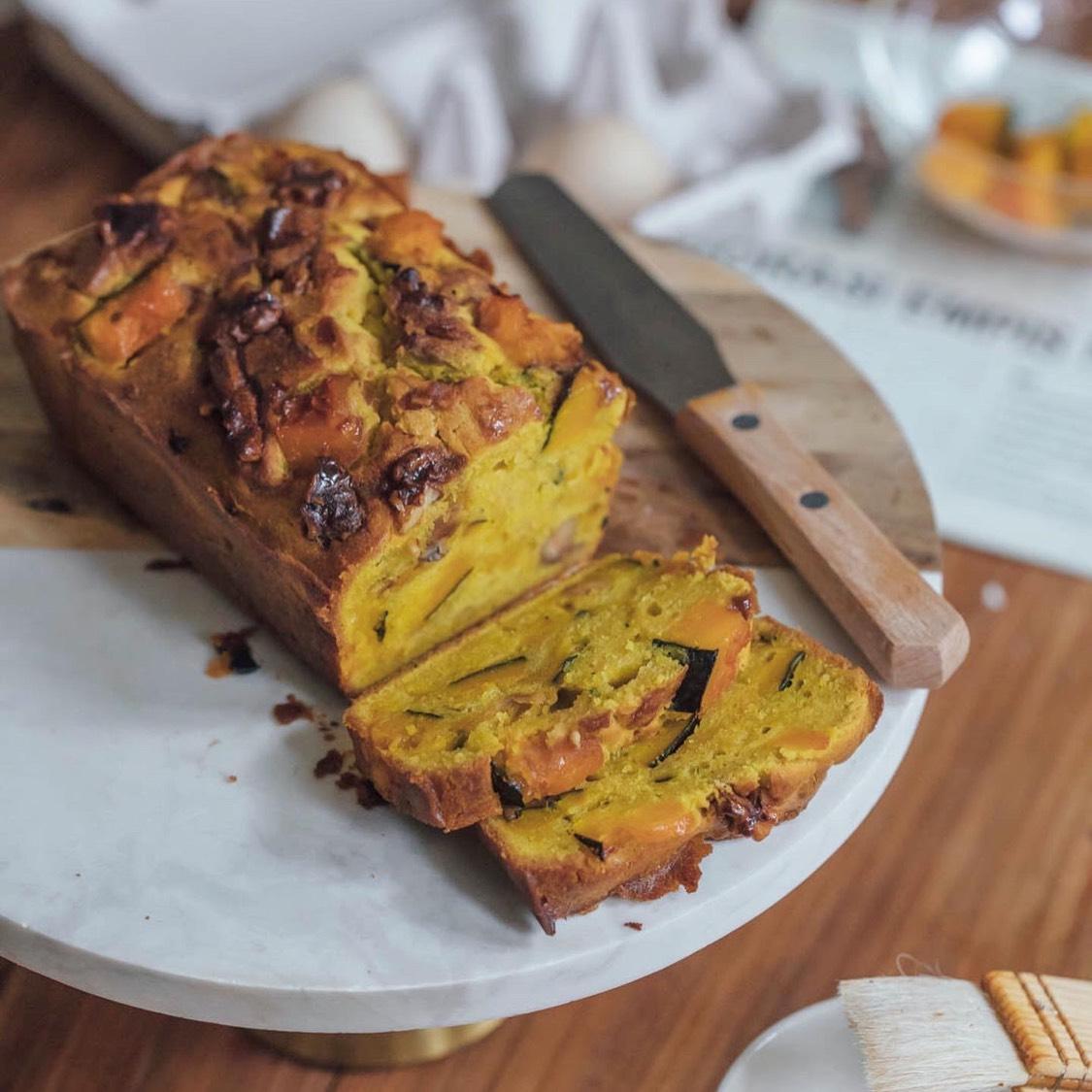 焦糖核桃南瓜磅蛋糕