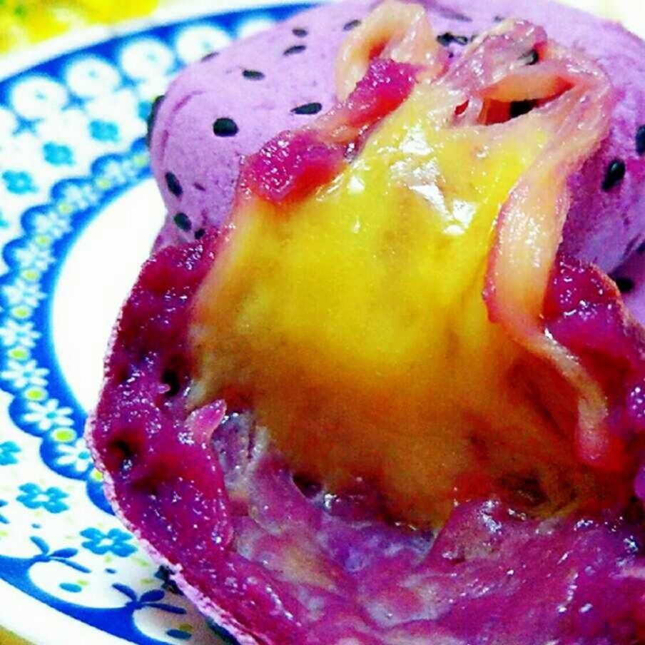 超长拉丝还会爆浆的紫薯饼 食材:紫薯,糯