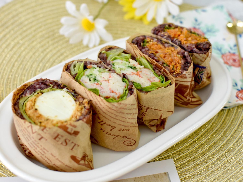 3种低卡美味饭团【肉松鸡蛋饭团、蟹棒饭团、辣白菜饭团】