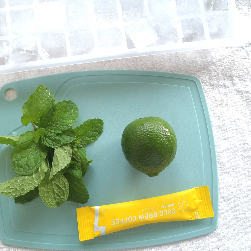 准备相应材料,柠檬,薄荷,Tastelab极速冷萃咖啡和冰块