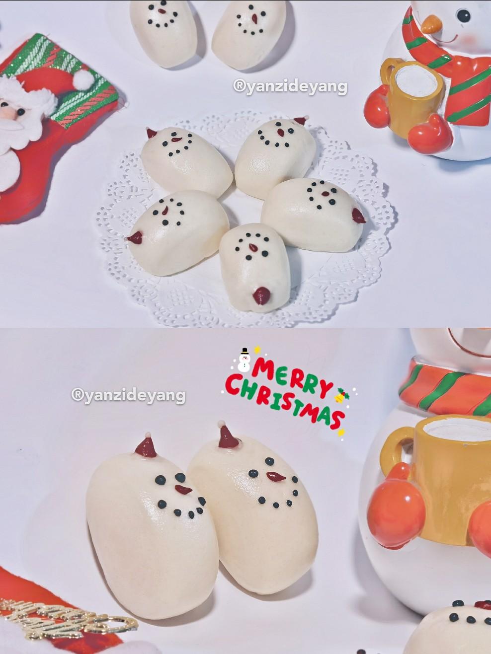 最萌的奶香圣诞节雪人小刀切
