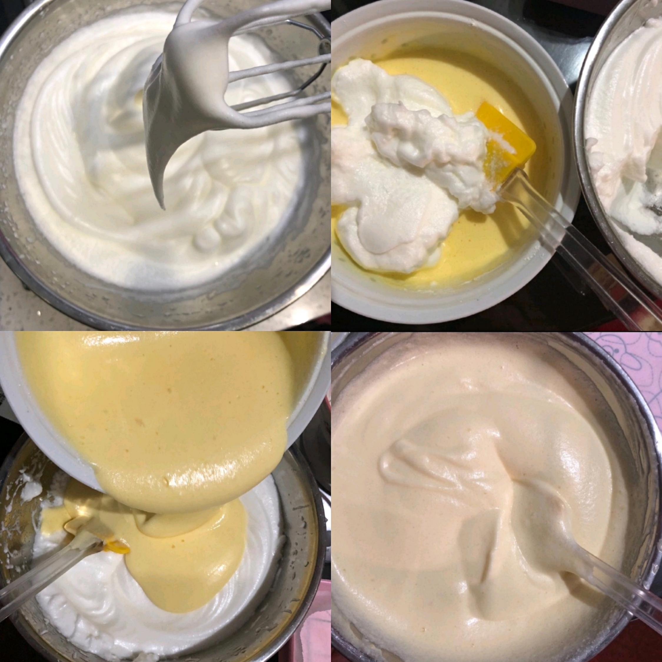 烤箱150℃预热,细砂糖分3次加入蛋白中,发至硬性发泡,取1/3蛋白加入蛋黄糊中,用刮刀翻拌均匀,再倒回蛋白中,继续快速翻拌均匀