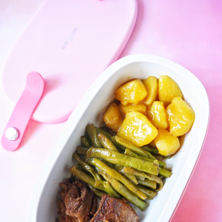 今日便当:咖喱土豆+糖醋豇豆+红烧鱼肉