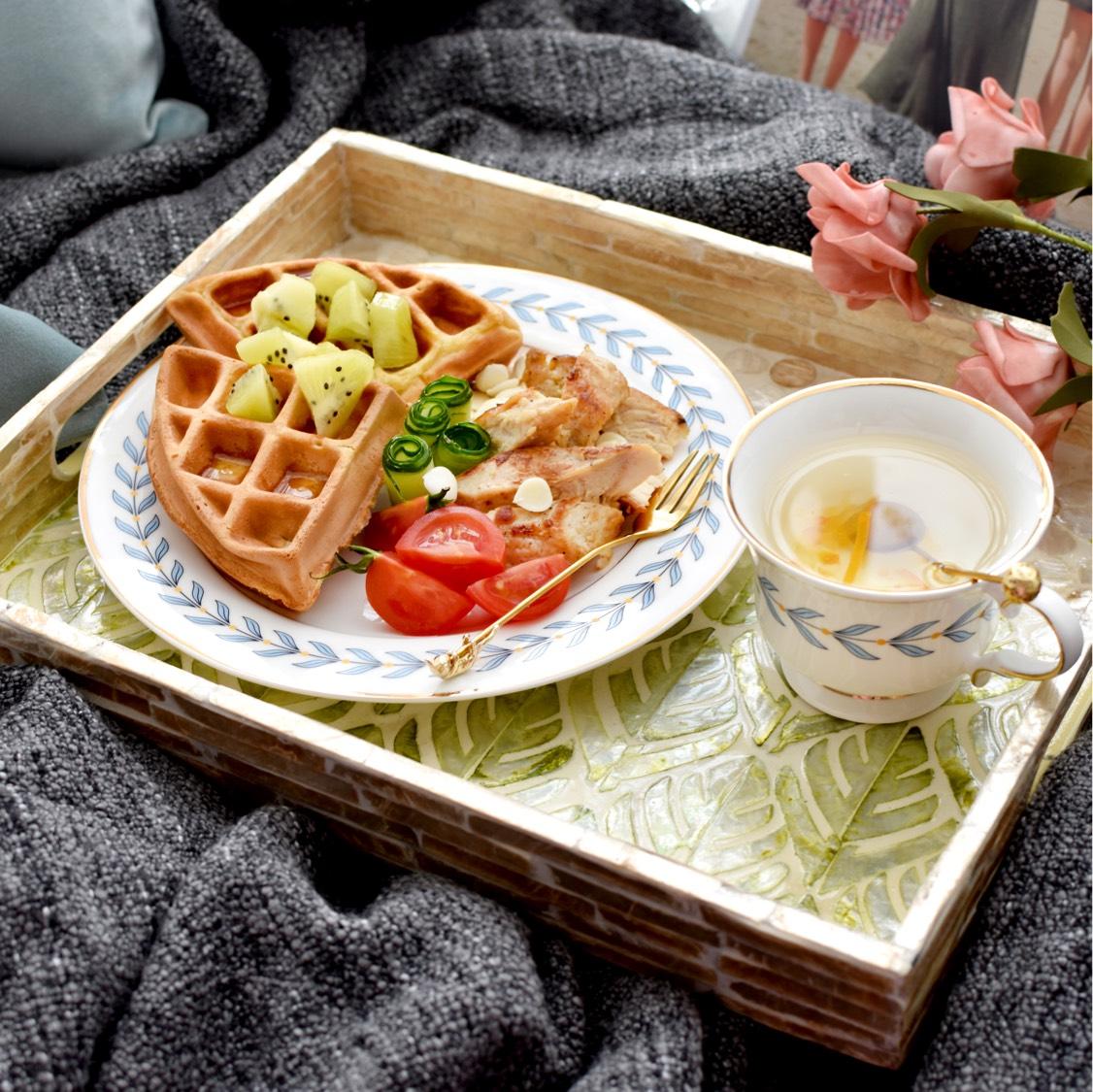 枫糖浆华夫饼早餐~