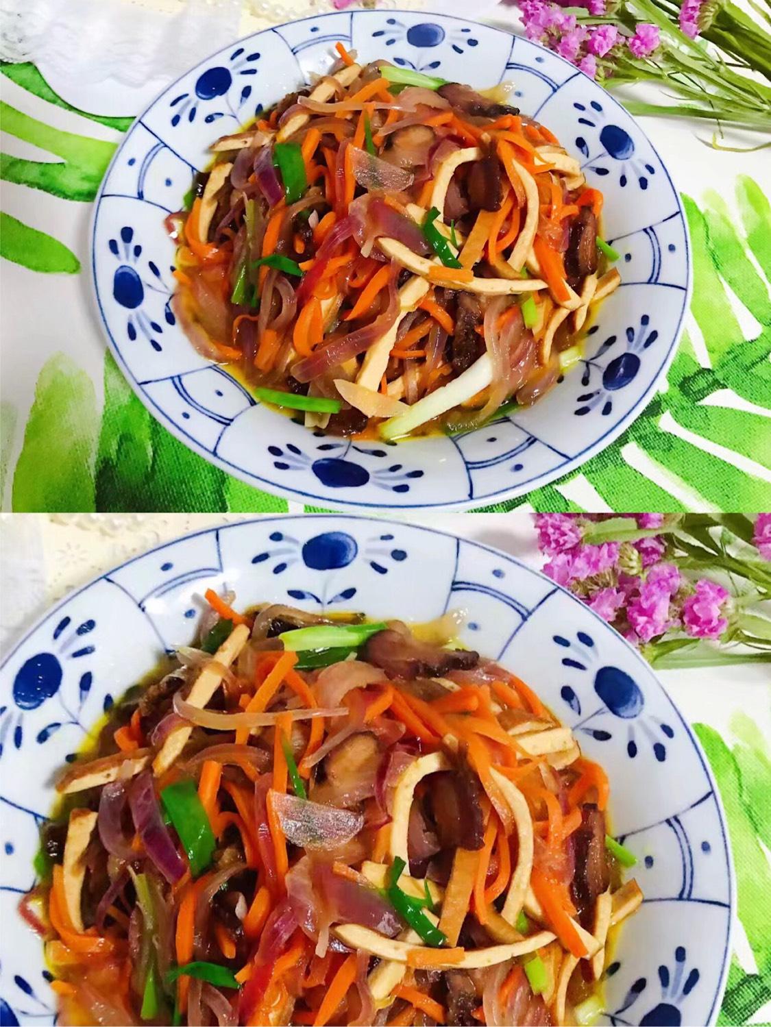 胡萝卜洋葱香干炒酱油肉😋😋😋