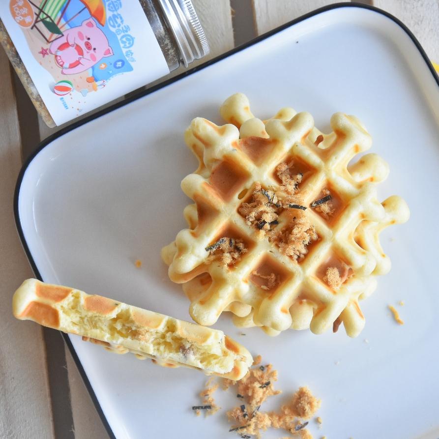 今日份早餐 芝麻海苔肉松华夫饼,多重