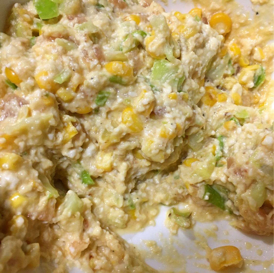 今天吃什么? 鸡肉豆腐蔬菜饼  嫩豆腐