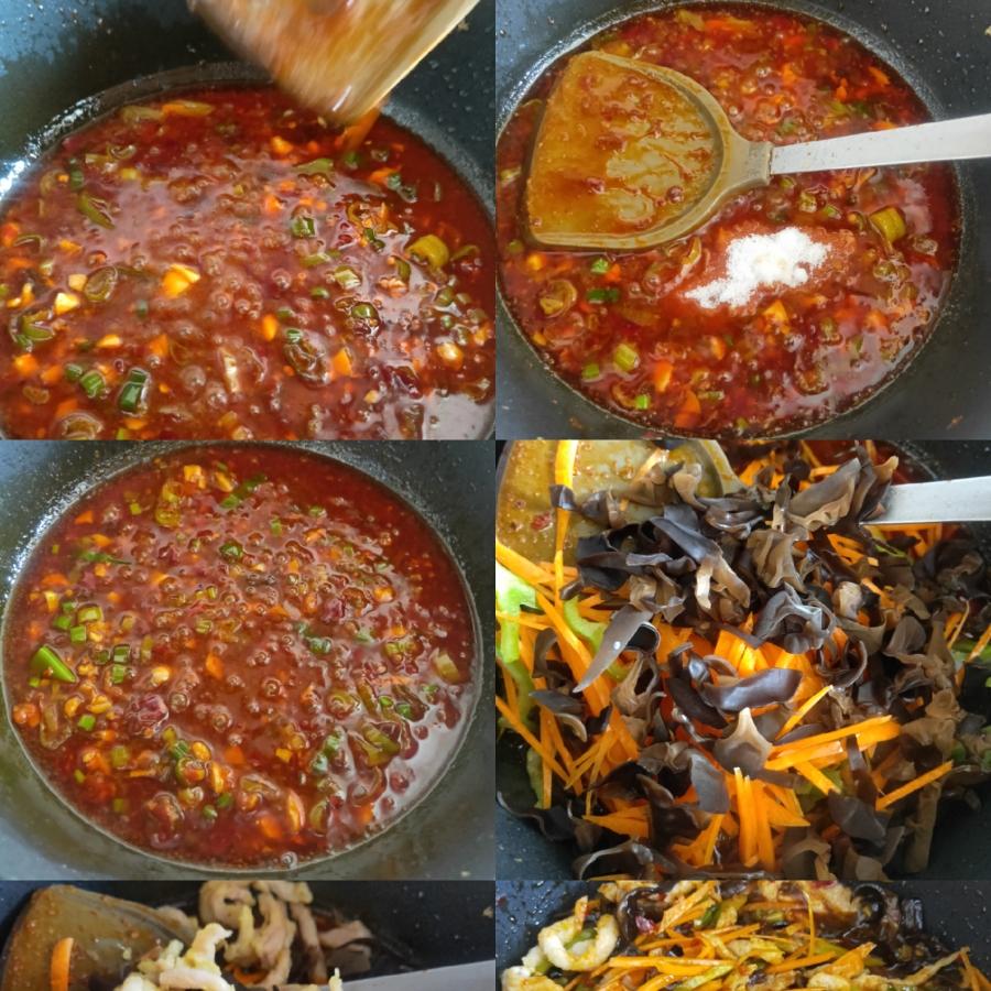 翻炒均匀后放入2勺白糖炒匀,下入木耳,胡萝卜丝和尖椒丝,肉丝,翻炒均匀。