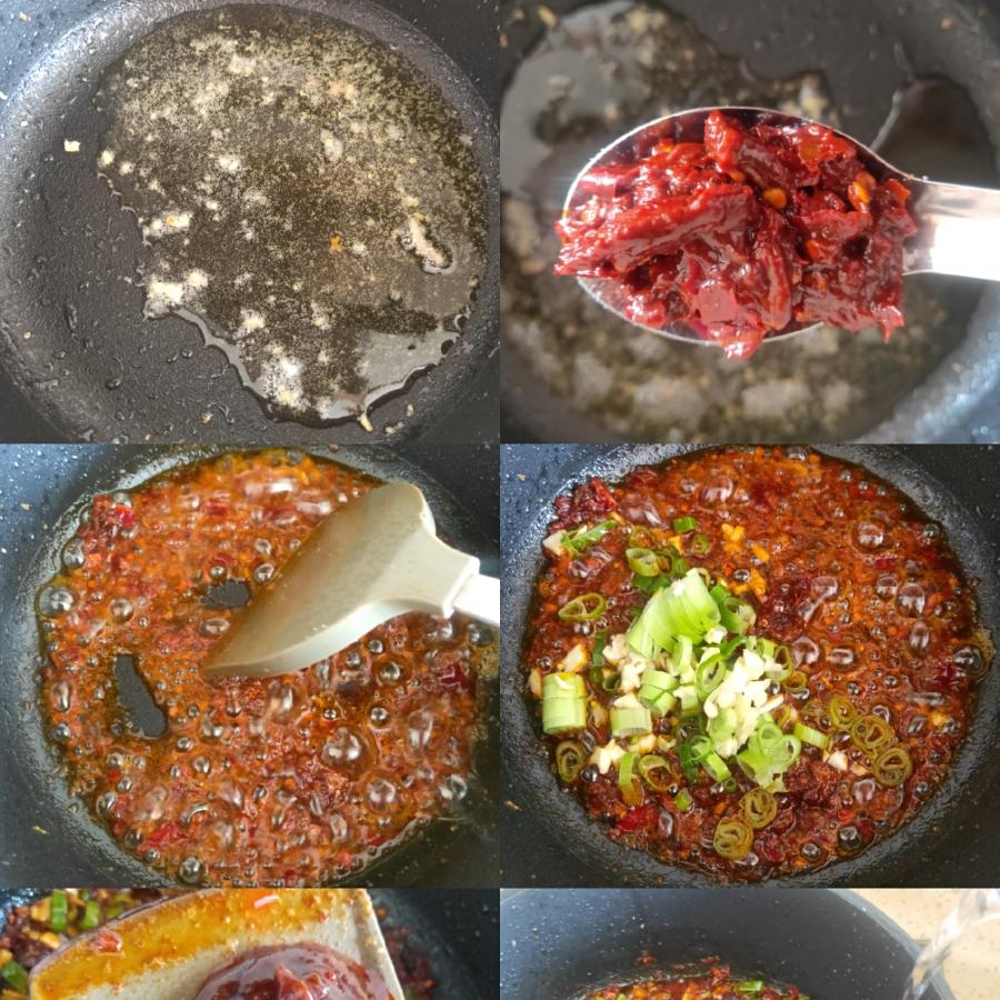 锅中放入少许油,放入1勺豆瓣酱,翻炒匀,然后放入葱蒜,爆出香味然后放入1袋鱼香肉丝小料,,倒入适量的水