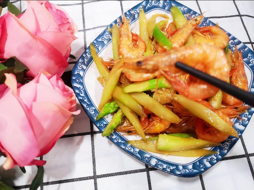 蒜香芦笋炒虾