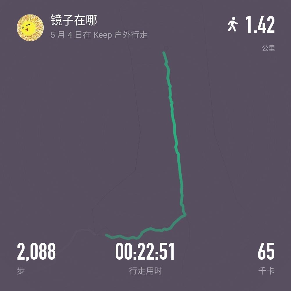 今天爬到山顶走了两千步!