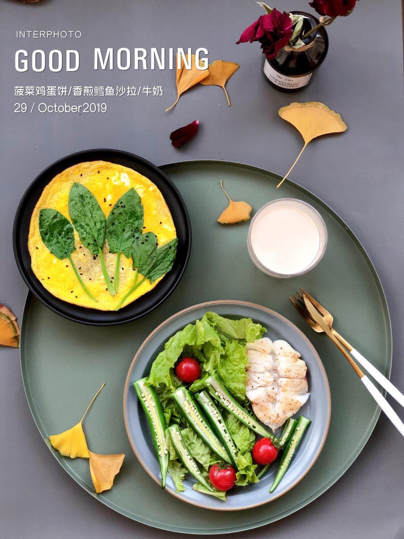 ⭐️今日份早餐 /菠菜鸡蛋饼 /香煎